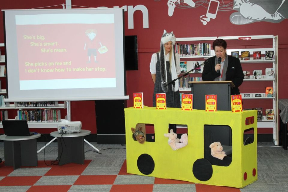 Bundaberg Youth Services Librarian Sue Gammon launches Bully on the Bus.