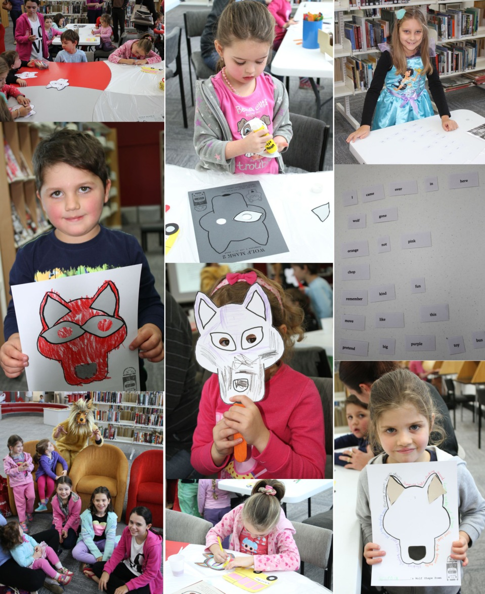 Children engaged with craft and poetry activities.